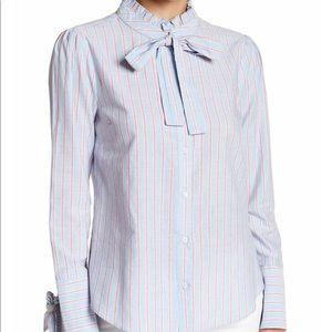 English Factory Ruffle Striped Button-Down Shirt